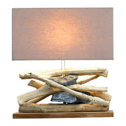 Scandinavian Design - L660 - This Table Lamp add a beautiful and natural element to any room . Made of distressed driftwood and natural.