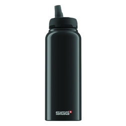 Sigg - Sigg Water Bottle - Nat Black - 1 Liter - The perfect bottle for SIGG fans young and old. A CLEVER APPROACH IS WHAT GOES INTO OUR BOTTLES. LIKE OUR NEW ACTIVE TECHNOLOGY. State-of-the-art engineering with a pressure-relief valve and pre-ventilation system. The new top is also leak proof   even if you turn the bottle on its head   which is great for all athletes, drivers and kids. With this top, having to unscrew your bottle is a thing of the past, so you can simply reach for your beverage whenever you get thirsty   without taking your eyes off the road and without the risk of spilling. Stay perfectly hydrated with the new SIGG Active Top collection. The Nat black aluminum bottle has a highly resistant BPA- and phthalate-free liner, making it almost unbreakable!