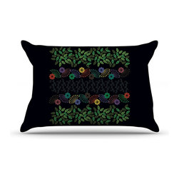 "Kess InHouse - Famenxt ""Dark Jungle Pattern"" Black Green Pillow Case, King (36"" x 20"") - This pillowcase, is just as bunny soft as the Kess InHouse duvet. It's made of microfiber velvety fleece. This machine washable fleece pillow case is the perfect accent to any duvet. Be your Bed's Curator."