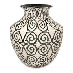 "Silver Nest - Cavort Wide Floor Vase- 21""h - With a muted bronze pattern raised from a cream finished bodice, the wide Cavort oversized floor vase has a sophisticated and luxurious appeal."
