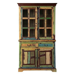 Reclaimed Wood China Cabinet - This multicolor solid reclaimed wood ...
