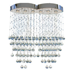 Lightupmyhome - 6-Light Linear Suspension Crystal Flushmount Chandelier - This chandelier delivers on quality and beauty.  With raining crystals creating gorgeous design below this string crystal chandelier will update any decor.