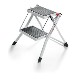 POLDER - 2 Step Stool Without Rail, White - This 2-step mini stool in white color is perfect for any kitchen. It has a 17-inches to the top step. The spring-loaded safety lock, locks the ladder in an open position when in use. It has non skid rubber step pads and non skid vinyl feet for safe use.