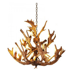 ParrotUncle - 12 Lights Rustic Faux Antler Dining Room Chandelier - 12 Lights Rustic Faux Antler Dining Room Chandelier