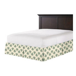 Teal Teardrop Block Print Custom Bed Skirt - With clean lines and crisp pleated sides and corners, our Tailored Bedskirt is the classic finishing touch for the sharp dressed bed.  We love it in this teal and green block print on ivory lightweight cotton.  Whether this motif evokes peacocks or paisleys, it's your very own passage to India.