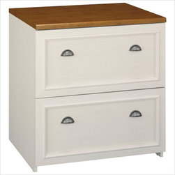 Bush - Bush Fairview 2-Drawer Lateral Wood File Cabinet in White - Bush - Filing Cabinets - WC53281 - File it in style with the stately bush Fairview lateral file storage cabinet, a majestic approach to office solutions. This elegant filing cabinet features an antiqued two-tone finish, antique-style hardware and other beautiful details.