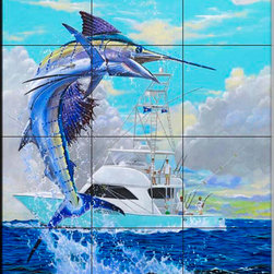 The Tile Mural Store (USA) - Tile Mural - Viking Sail - Cc - Kitchen Backsplash Ideas - This beautiful artwork by Carey Chen has been digitally reproduced for tiles and depicts a hooked marlon.  This tile mural featuring fish and sea life would be perfect as a part of your kitchen backsplash tile project or your tub and shower surround bathroom tile project. Images of tropical fish on tile make a fantastic kitchen backsplash idea and are great to use in the bathroom too for your shower tile project. Consider a tile mural of sealife and fish for any room in your home where you want to add wall tile with interest.