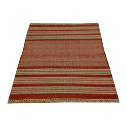 Durie Kilim 100% Wool 3'x5' Reversible Flat Weave Hand Woven Rug SH15786 - Soumaks & Kilims are prominent Flat Woven Rugs.  Flat Woven Rugs are made by weaving wool onto a foundation of cotton warps on the loom.  The unique trait about these thin rugs is that they're reversible.  Pillows and Blankets can be made from Soumas & Kilims.