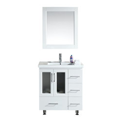 "Design Elements - Design Elements B30-DS-W Vanity in White - The Stanton 30"" Single Sink Vanity Set is constructed with solid wood and provides a contemporary design perfect for any bathroom remodel. The ample storage in this free-standing vanity set includes four fully functional drawers and a single double door cabinet each accented with brush nickel hardware. This cabinet is a complete set that includes a porcelain drop-in sink and matching framed mirror."