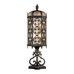 Fine Art Lamps - Costa del Sol Outdoor Pier Mount, 324980ST - With its wrought iron finish and stylized quatrefoil design, this pier-mount lantern would look sensational atop a post or column flanking your driveway or front walk. Exquisite detailing and iridescent textured glass give this fixture the authentic allure of an old-world antique.