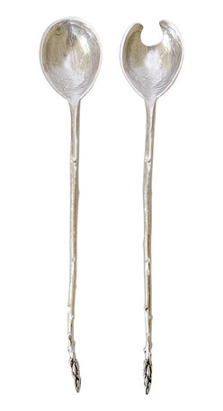 Asparagus Salad Servers - Hand crafted from lead-free pewter in a small Pennsylvania metal studio, these asparagus salad servers are a true work of art.