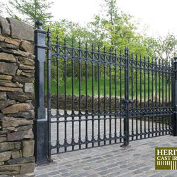 Heritage Cast Iron USA - Heritage Cast Iron USA - While Stock Lasts, this amazing 12' wide driveway gate WITH posts, pre-hung, ready to install as shown is available at a 40% discount off MSRP. Don't wait till they are all gone, call to order today. If you just want the gates only, they are only $3168.00