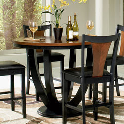 Coaster - Boyer Collection Counter Height Table in Black / Cherry - The counter height dining set has simple style that will match any home, in a rich black and cherry finish to compliment your decor.