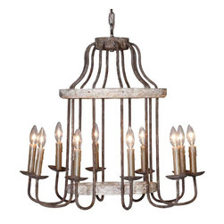 Gabby - Gabby Adele Chandelier - Inspired by the shape of a birdcage, this iron-and-wood chandelier boasts ten lights to illuminate the room, and enough style to have all your guests raising a glass skyward at your dining table.