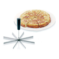 Paderno World Cuisine - 8-Wedge Stainless Steel Pie Slicer - This Paderno World Cuisine round cake marker portions 8 slices, or marks wedges. It also works on pies and tortillas. It is made of stainless steel with a plastic handle.