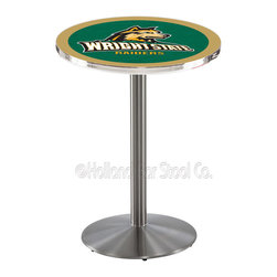 Holland Bar Stool - Holland Bar Stool L214 - Stainless Steel Wright State Pub Table - L214 - Stainless Steel Wright State Pub Table belongs to College Collection by Holland Bar Stool Made for the ultimate sports fan, impress your buddies with this knockout from Holland Bar Stool. This L214 Wright State table with round base provides a commercial quality piece to for your Man Cave. You can't find a higher quality logo table on the market. The plating grade steel used to build the frame ensures it will withstand the abuse of the rowdiest of friends for years to come. The structure is 304 Stainless to ensure a rich, sleek, long lasting finish. If you're finishing your bar or game room, do it right with a table from Holland Bar Stool. Pub Table (1)