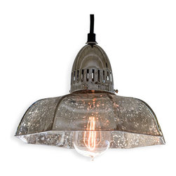 Kathy Kuo Home - Birger Industrial Loft Antique Mercury Glass Dish Pendant - Nobody can accuse you of throwing shade when you have a light like this amongst your belongings. The mercury glass shade allows for focused light on all situations below and diffused soft light for all situations above,  making it the perfect way to stay all sweetness and light.
