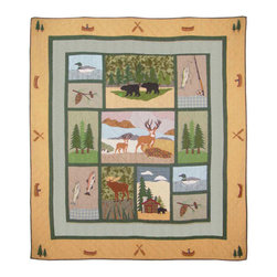 Patch Quilts - Lodge Fever Quilt King 105 x 95 - - Intricately appliqued and beautifully hand quilted.Bedding ensemble from Patch Magic  - The Name for the finest quality quilts and accessories  - Machine washable.Line or Flat dry only Patch Quilts - QKLGFV