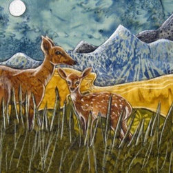 On Our Way (Original) by Shellie Mitchell - This sweet piece features a mama deer and her fawn. Nestled in the tall grass they graze with a mountain view.   We have a family of deer that roam our yard daily. I just love how peaceful they are and that they stick together day in and day out.