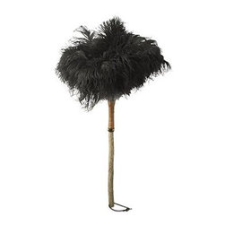 """Ostrich Feather Duster - As a little kid, I always wanted one of these, even though I didn't know what they were for. Championed as the all around best tool for dusting, this feather duster gets the job done while still looking classy.dimensions: 28"""" L. made from south african black ostrich feathers."""