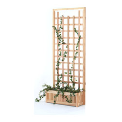 All Things Cedar - 2pc Planter with Trellis Screen - This set includes 1 PL30U planter box with 2 TS33 Cedar Screen Panels Item is made to order.