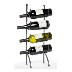 "Oenophilia - Piccolo Wine Stand - This sweet little rack will fit just about anywhere so you can always have your favorite wine close by.Holds 4 bottles.21.75""H X 7""W X 6""D"