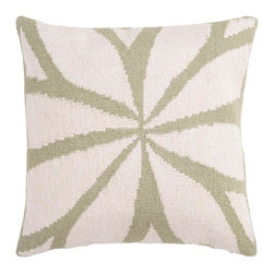 """Surya FA013-1818D 80% Wool / 20% Cotton 18"""" x 18"""" Decorative Pillow - Resembling the leaves on a flower, this trendy design brings today's style right to your room. Colors of green and ivory accent this decorative pillow. This pillow contains a down fill and a zipper closure. Add this 18"""" x 18"""" pillow to your collection today. Filler: Down Feathers. Shape: Square"""