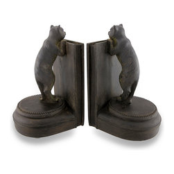 Zeckos - Curious Kitty Antique Bronze Finish Cat Bookends Set of 2 - This set of charming bookends is the 'purrr-fect' accent to the bookcase, shelf, or desk of any cat lover. Hand-painted with an antique bronze finish, they feature a curious cat peeking over the back-wall of the bookend inquisitive about the books between them Made from poly-stone resin, each bookend measures 8 1/2 inches (22 cm) tall, 5 1/4 inches (13 cm) long, 4 3/4 inches (12 cm) wide and has foam pads on the bottom to prevent it from scratching delicate surfaces. These bookends make a great gift for feline fanatics and avid readers, and are sure to be adored