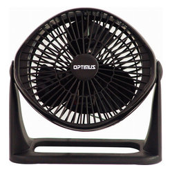 Optimus - Turbo Air Circulator Fan - When a warm and fuzzy feeling isn't a good thing, there's always a turbo air circulator fan to help you out. Wall mounted or easily carried, this contemporary fan with three speeds and a variable tilt head will help cool you off when things get heated.