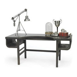 "Go Home Ltd - Brimfield Desk by Go Home - Reminiscent of an old library table, the blackened steel desk by Go Home is striking and anything but quiet. Open shelving and styling makes this a beautiful piece to bring into your living space to showcase you collectibles. (GH) 72"" long x 30"" deep x 32"" high"