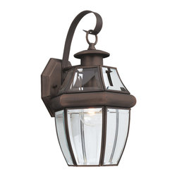 Sea Gull Lighting - Sea Gull Lighting Lancaster 1-light Bronze Outdoor Wall Lantern - The clean lines and traditional design of the Lancaster single-light outdoor wall fixture is accented with a an antique bronze finish. The glass shade detailing creates an inviting presentation that defines your home's exterior.