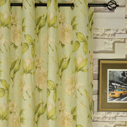 Printed Springtime Floral Grommet Linen Curtains - The pattern is a simple all over leaf and flower prints set on a beige or subtle green background. With the easy-to-hang eyelets, you will be able to draw the curtains with the most convenience.