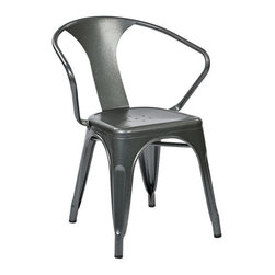 Office Star - Office Star Patterson Metal Chair in Pewter Grey (Set of 2)-Set of 2 - Office Star - Dining Chairs - PTR2830A22 - Simple elegant chair featuring powder coated steel frame and stylish back design. Always ready to serve you with style these chairs are designed to provide comfort while adding elegance to your life. Elegant design with a modern touch. Fully assembled for your convenience these gorgeous Patterson Metal Chairs will serve for many years to come.