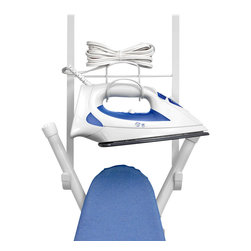 """Spectrum Diversified Designs - Overdoor Iron & Board Holder - Organize your laundry room with the Over the Door Iron & Ironing Board Holder. This handy white rack lets you store your iron and torstyle ironing board in one convenient place. Made in sturdy steel bracket fits doors up to 1-5/8"""", while a predrilled hole on the bracket allows you to permanently attach the hook to your door."""