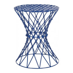 Safavieh - Charlotte Iron Wire Stool - An intricate web motif crafted of iron lends a sculptural aura to the Charlotte web stool. The delicate see-through effect is enhanced with a dark blue finish that complements transitional and contemporary interiors. Use this artistic-looking but sturdy stool beside a chair or sofa or for extra seating.