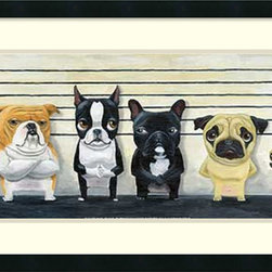 Amanti Art - Brian Rubenacker 'The Lineup' Framed Art Print 31 x 19-inch - Guilty of being criminally cute, The Lineup of usual suspects makes a great decor addition for the dog lover in us all.