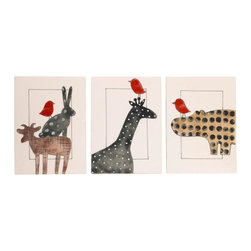 Cotton Tale Designs - Animal Stackers Wall Art - A quality baby bedding set is essential in making your nursery warm and inviting. All Cotton Tale patterns are made using the finest quality materials and are uniquely designed to create an elegant and sophisticated nursery. Part of the Animal Stackers collection is this wall art and the finishing touch to your nursery. A 3 piece, hand painted set of delightful characters. Painted on natural canvas with black ribbon ties. Each piece measures 10 in.  x 14 in. . Can be framed or hung by the black ribbon ties. Hang them together or separately. Dust only. Great for a girl or a boy.