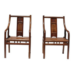 Golden Lotus - Pair Chinese African Rosewood Modern Fusion Style Accent Armchairs - This is a pair of modern Chinese armchairs with combination of Asian and modern design using the natural solid wood. The African rosewood has nice yellowish brown wood color and charming wood grain. They are elegant and clean for home or office furnishing.
