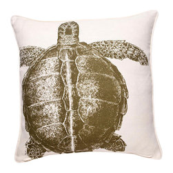 Thomas Paul - Turtle Linen Pillow, Lichen - Designed by Thomas Paul, part of the Thomas Paul Thomas Paul Linen Pillow Collection. Includes a 95/5 feather/down insert. Hand screen-printed design.