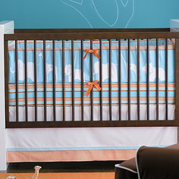 Ben 3-Piece Crib Set - Here's a great animal option with lions, elephants and giraffes. This would be cute in a safari-themed nursery. I like the orange and aqua combination.