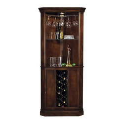 Howard Miller - Corner Bar - Piedmont Wine & Spirits Cabinet - Combines plentiful storage with a convenient space-saving corner design. Features a metal wine rack with a capacity of 13 bottles, and two fixed shelves, which offer storage for spirits, mixers, and bartender's guides. Touch-Lite adjustable light switch offers four levels of lighting: low, medium, high, and off. Adjustable levelers under each corner provide stability on uneven and carpeted floors. Locking door for added security. Glass shelves can be adjusted to any level within your cabinet. Pad-Lock cushioned metal shelf clips increase stability and safety. Distressed Rustic Cherry Finish. Made of Hardwoods and Veneers. Lockable cabinet: 29 in. H. 32 1/2 in. W x 19 in. D x 76 in. H