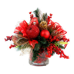 TableCenterpieces.net - Iced Apple & Berry Christmas Floral Arrangement Hand Crafted Red/Gold/Green - This red and gold holiday themed faux floral arrangement would be the perfect addition to your entryway console or as an eye-catching festive statement on your sideboard or dining room table.  This unique piece features artificial evergreen branches, iced red apples, red berries, gold pine cones and luxurious ribbons in a beautiful glass vase filled with festive red berries.
