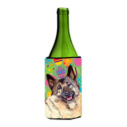 Caroline's Treasures - Norwegian Elkhound Easter Eggtravaganza Wine Bottle Koozie Hugger - Norwegian Elkhound Easter Eggtravaganza Wine Bottle Koozie Hugger Fits 750 ml. wine or other beverage bottles. Fits 24 oz. cans or pint bottles. Great collapsible koozie for large cans of beer, Energy Drinks or large Iced Tea beverages. Great to keep track of your beverage and add a bit of flair to a gathering. Wash the hugger in your washing machine. Design will not come off.