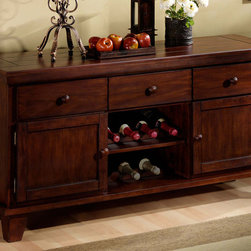 Crown Mark - Brownstone Server - The Brownstone buffet has a grooved plank look top in a walnut finish