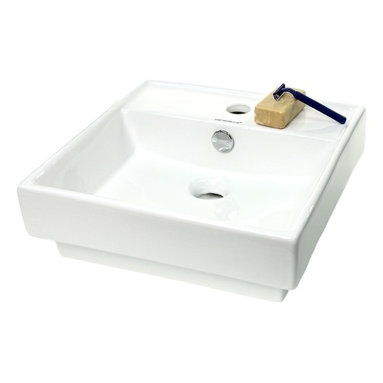 Caracalla - White Ceramic Square Self Rimming Sink - In Italy less is more. And this is a perfect example. If your style is modern or contemporary, this beautiful sink will make your bath a showcase. Simple and elegant, it has all the style and none of the excess.
