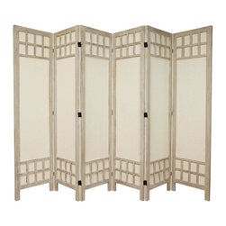 "Oriental Furniture - 5 1/2 ft. Tall Window Pane Fabric Room Divider - Burnt White - 6 Panel - This is an extra strong floor screen, offering style elements of both Japanese shoji screens as well as traditional American style room dividers. The window pane lattice at the top and bottom of this screen are attractive, and reinforce the structure of each panel. Also, the cotton fabric shade is solid and durable, making this screen lighter than a solid wood panel design. The rustic, ""burnt"" wood finish is unique and attractive, intended to compliment modern American interior design. Distressed and antiqued wood finishes are popular as they remind us of the long lasting quality of the solid wood frames underneath. These folding floor screens provide great quality and attractive design at excellent prices, delivered to your door."
