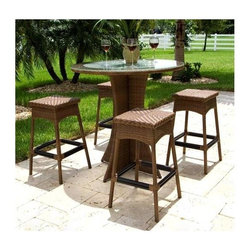 Hospitality Rattan - Grenada 5 Pc Slatted Pub Table & Four Backles - Keep beverages and conversation flowing around the pedestal style Grenada pub table. Four backless barstools feature scalloped aprons and classic woven patterns in weather-resistant outdoor poly-resin fibers. It's a classic set in sturdy aluminum framing for patios and at poolside. Include: 4 Armless Barstools & 1 Bar Pub Table. Made of Extruded Aluminum Frame will not rust w Twitchel fiber. Finished in a powder coated Dark Bronze finish. Available in Viro Antique Brown. Weather and UV resistant. Sturdy aluminum legs for extra support. Matching seating group and dining available. Armless Barstool: 19 in. W x 19 in. L x 30 in. H (11 lbs.). Bar Pub Table: 42 in. W x 42 in. L x 43 in. H (65 lbs.)The Grenada collection has a contemporary, yet tropical feel that offer a clean look for any patio area and the convenience of all-weather wicker.Supported by an aluminum frame wrapped in high quality Viro fiber. This all-weather wicker 5 PC Pub set is incredibly comfortable with or without cushions. The simplicity of the Grenada collection and the versatility really make it an excellent choice for anyone. It includes four backless barstools from the Grenada collection with the 923- Outdoor Slatted Pub Table in the Dark bronze finish that accommodates an umbrella.