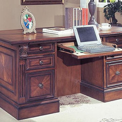 Parker House - Double Pedestal Executive Desk - Huntington - Traditional library styling gives the Huntington an executive edge. It's impressive in details that include carved corner corbels and burled veneer paneling on the drawers and sides. The front is equally distinctive with glassed-in display space and two central shelves. Executive Desk includes Desk Top and Left & Right Pedestal. Solid Poplar and Maple veneers. Multi-step Chestnut with accent shading and highlights, hand distressing, medium sheen top coat. 2 Pendaflex file drawers that fit both standard or legal folders. Pencil drawer has drop face to allow use as keyboard drawer or as lap-top station. Drawer boxes are English dovetail construction, both front and back for added strength and durability. All drawers have easy access from side mounted, deluxe, full-extension, ball-bearing slides. Hidden wire management inside desk walls. Decorative front with enclosed curios and adjustable book and accessory display. 3 pull-out convenience trays. Desk Top: 66 in. W x 36 in. D x 5 3/4 in. H. Left & Right Pedestal: 20 1/2 in. W x 29 1/2 in. D x 28 1/2 in. H. Overall Dimensions: 66 in. W x 36 in. D x 30 1/4 in. H