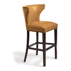 """Grandin Road - Morgan Leather Bar Stool - Custom-dyed, textured-leather upholstered stool—select from two seat heights. Shapely seat back adds extra support and beauty to the bar. Handsome, hand-tacked nailhead trim. Comfortable cushion. Solid-hardwood frame. Graceful styling and handsome nailhead trim make our shapely Morgan Stool look as spectacular as she sits. The spacious 23""""-wide seat and sculpted back are upholstered in custom-dyed textured leather, expertly sewn over a hardwood, espresso-finished frame.  .  .  .  .  . Dark espresso wood finish . Arrives fully assembled ."""