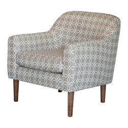 Great Deal Furniture - Bellview Fabric Retro Chair, Grey/White - Add some retro vibes to any space with the Bellview Accent Chair. This piece is designed with style in mind. The geometric pattern gives this chair a unique overall look and the curved back and armrests provide great comfort. If you're looking for comfort and style, the Bellview is your chair.